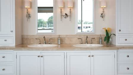 white painted double sink vanity