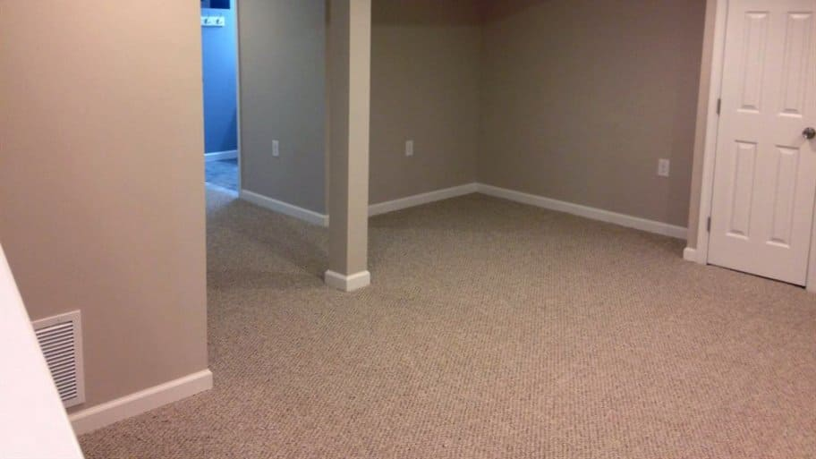Carpeted basement floor