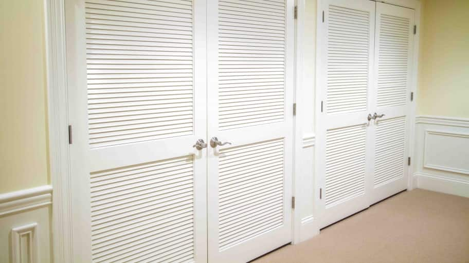white louvered closet french doors