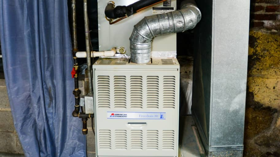 Furnace in a utility room.