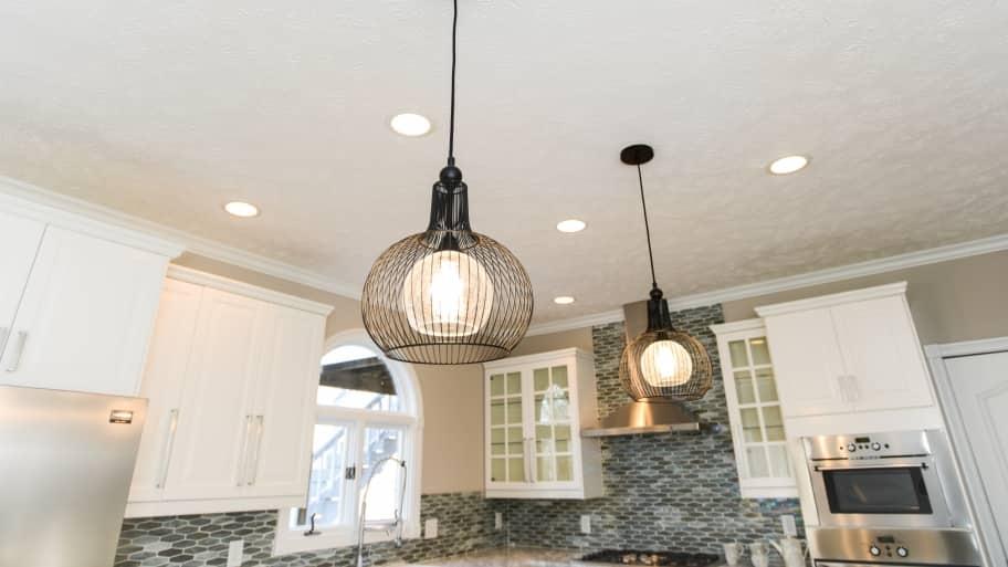 light fixture hanging in kitchen