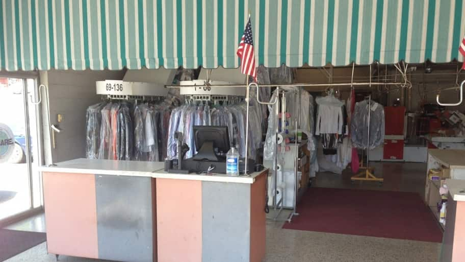 inside a dry cleaners