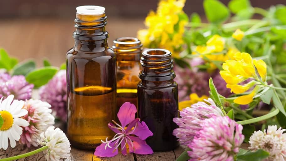 essential oils glass jars
