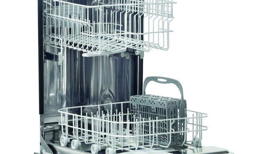"Frigidaire FFBD1821MS 18"" built-in dishwasher open with empty racks."