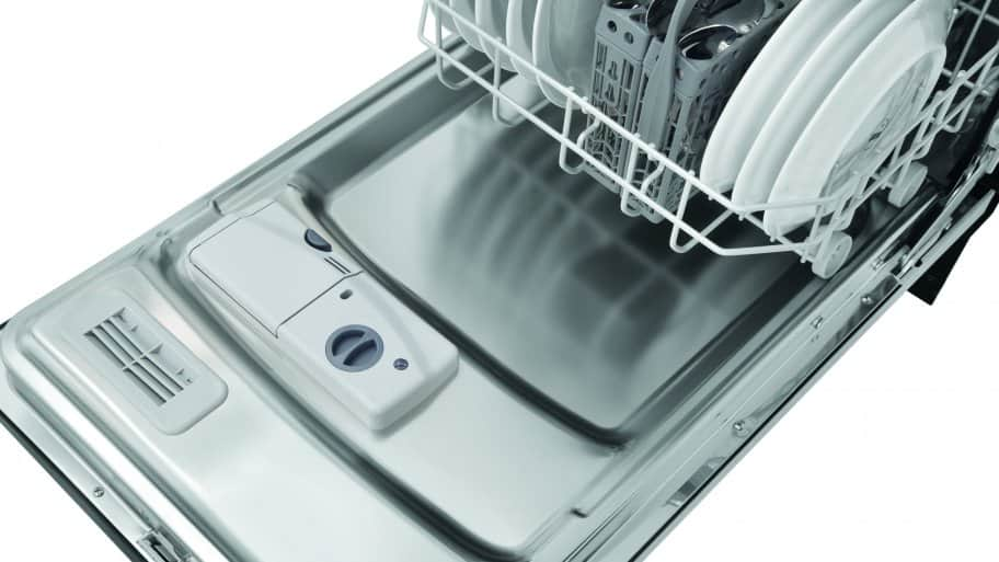 "Frigidaire FFBD1821MS 18"" built-in dishwasher with door open, tighter shot from front angle."