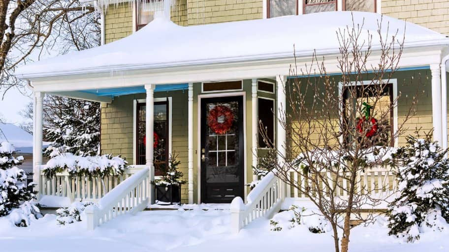 House covered in snow.
