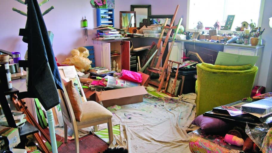 cluttered craft room