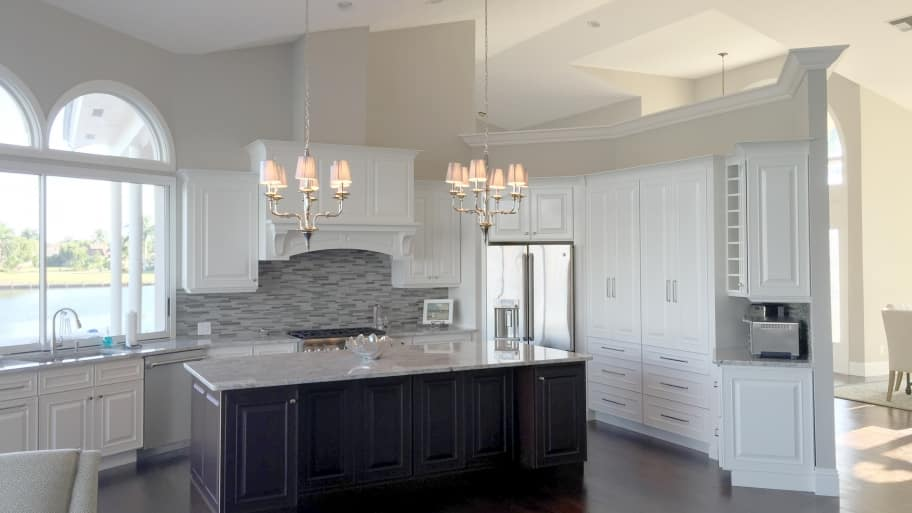 Florida kitchen remodel with new cabinets, countertops and backsplash