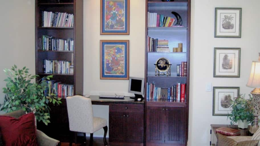 study with desk and bookcases