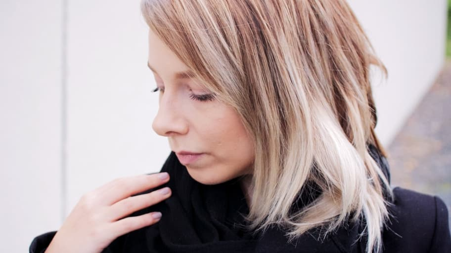 Blond woman with ombre hair style