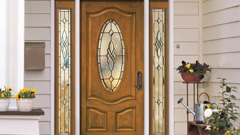 Pella front door with sidelights and transom
