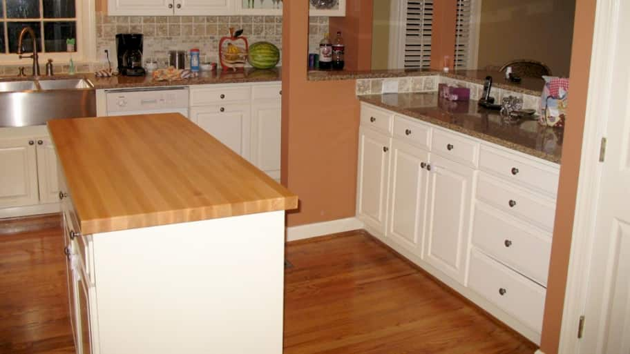butcher block countertop in kitchen