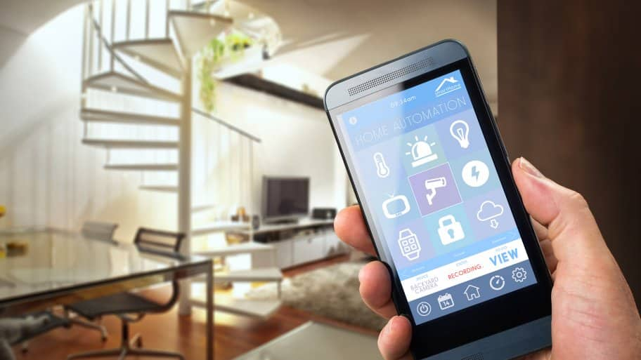 Smartphone and spiral staircase