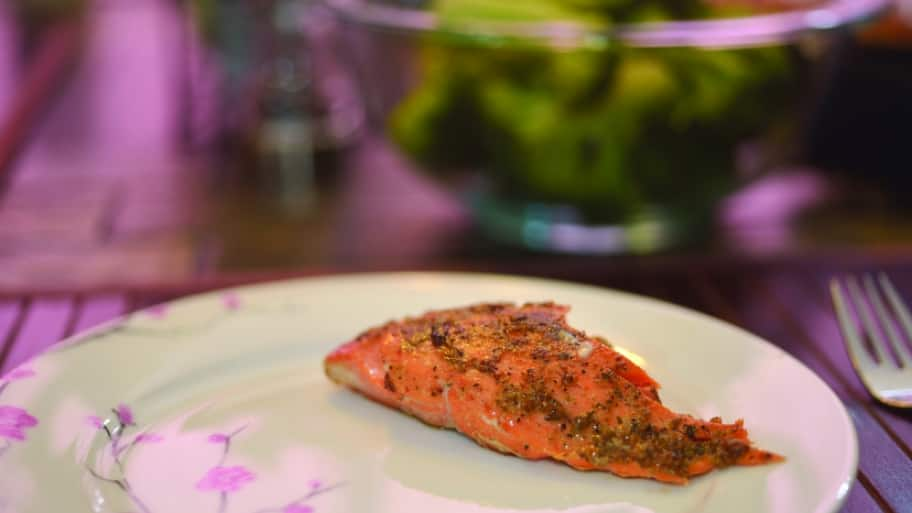 Cooked salmon filet on a dinner plate.