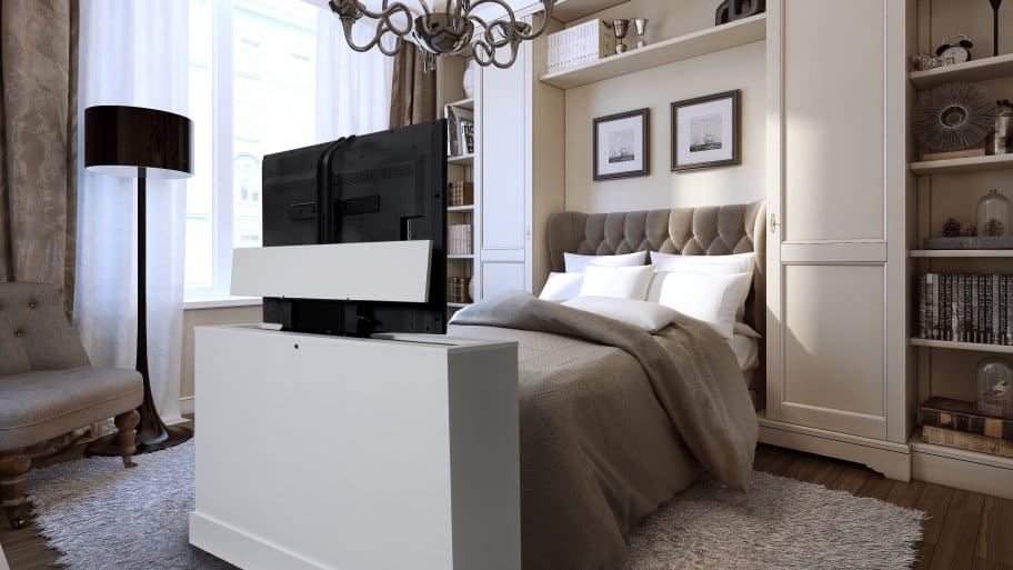 White TV Lift Cabinet At The Foot Of The Bed In A Contemporary Bedroom, HDTV