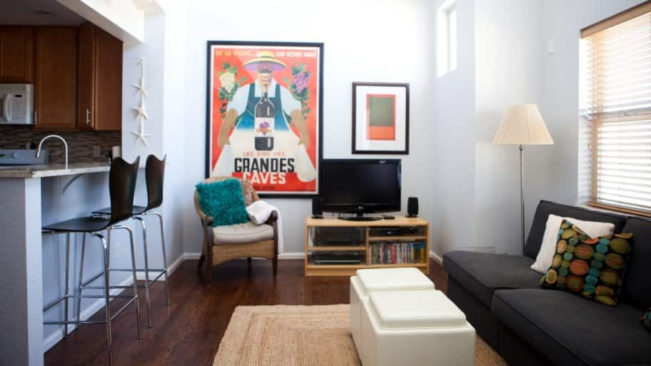 staged apartment living room