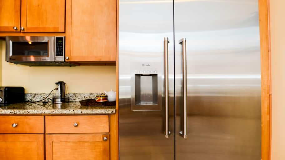 A moder refrigerator in a kitchen