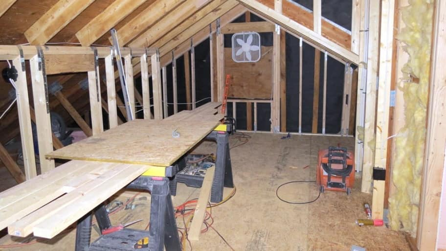 remodeling, attic, power tools