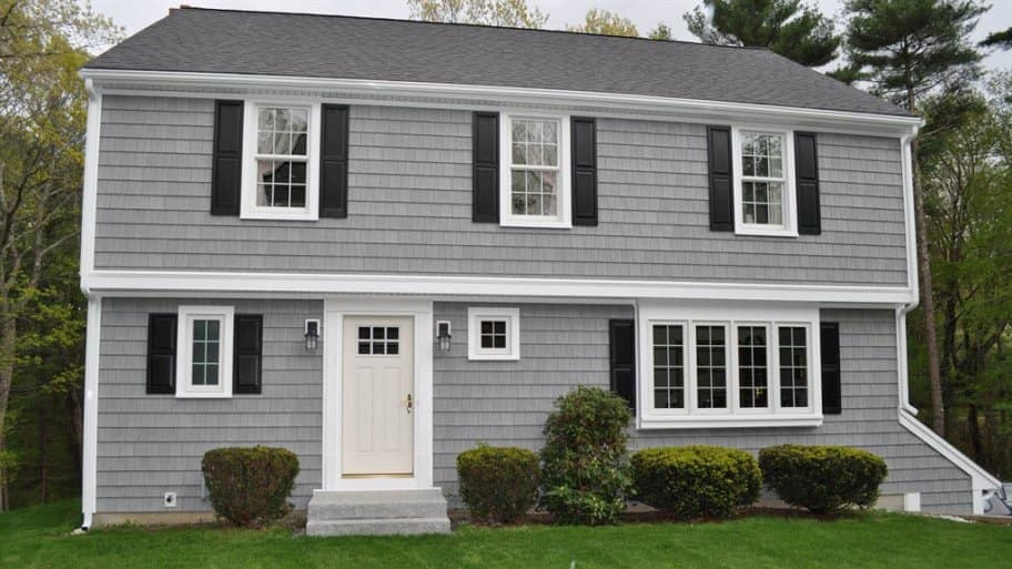 A House With Gray Paint, White Trim And Black Shutters. Part 69