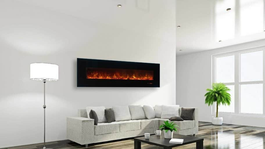 Wall mounted fireplace in living room