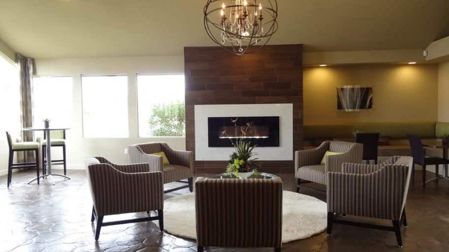 Electric Fireplace Wall Mounted Flush In A Living Room