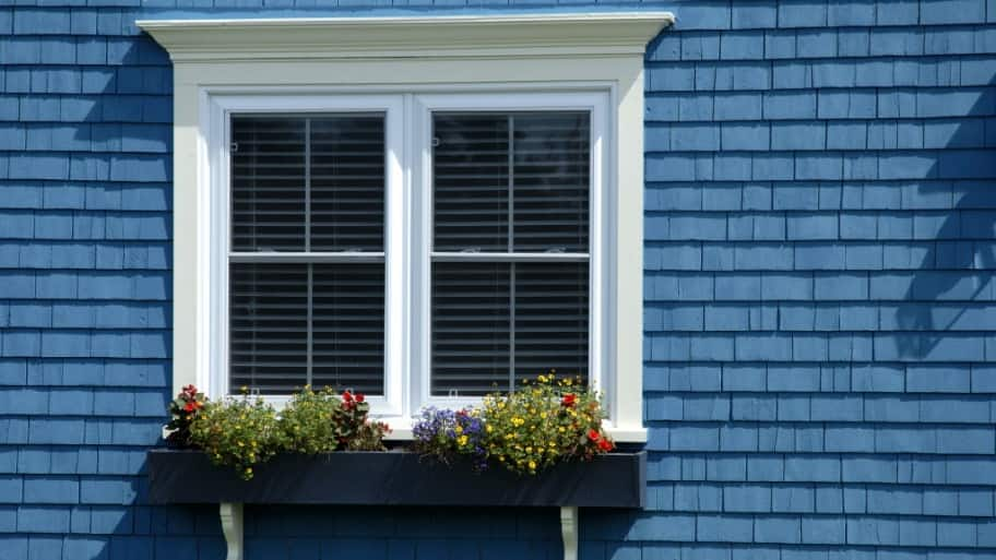 window, window box, blue shingle