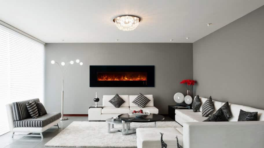 Contemporary wall mounted electric fireplace