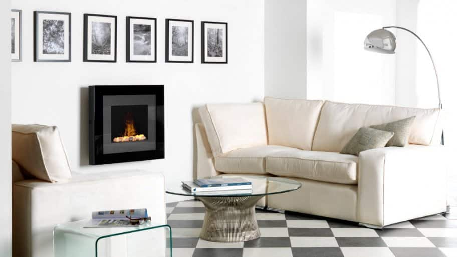 Modern wall mounted electric fireplace in living room