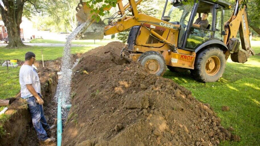 Septic line digging