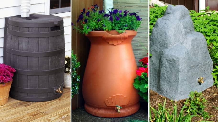 a wood partern rain barrel, a Grecian urn rain barrel and a faux rock rain barrel