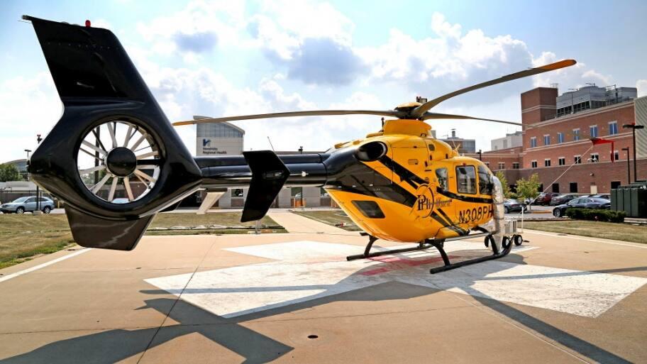 hendricks regional health helicopter on launchpad