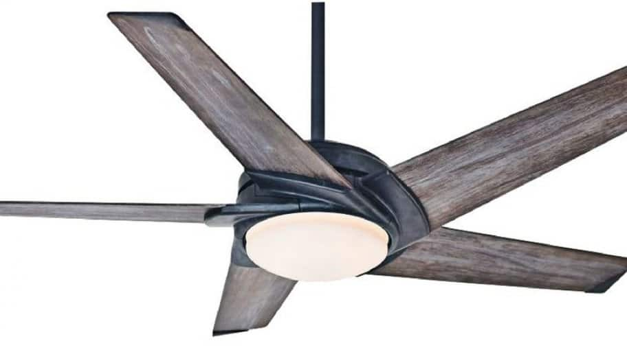 A Ceiling Fan With Wooden Blades And Light