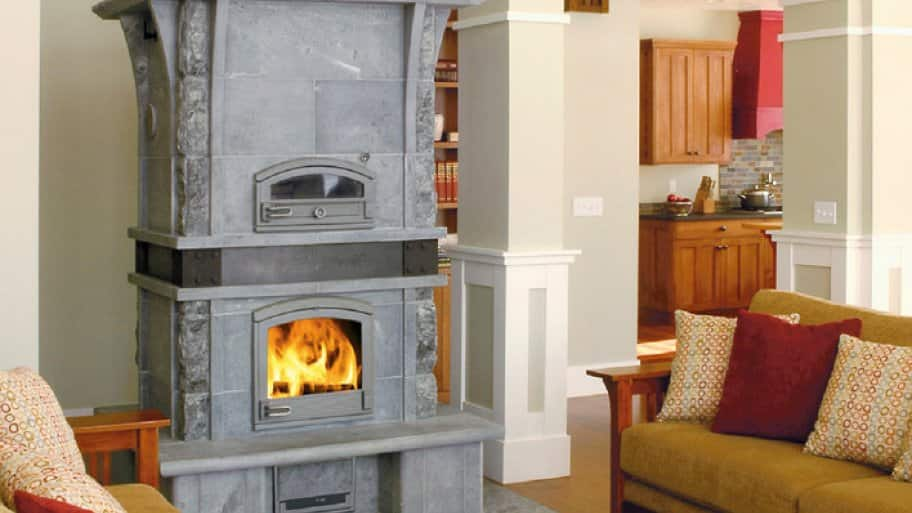 Free-standing fireplace in living room