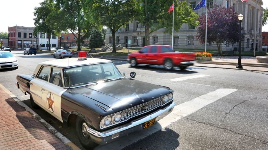 danville indiana court house and mayberry cafe police car