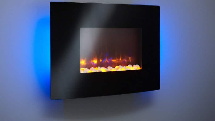 Electric fireplace on wall