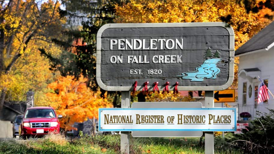 A sign for Pendleton indiana with National Register of Historic Places designation.
