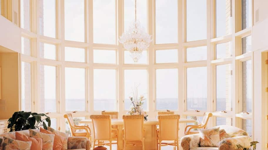 windows, chandelier, living room