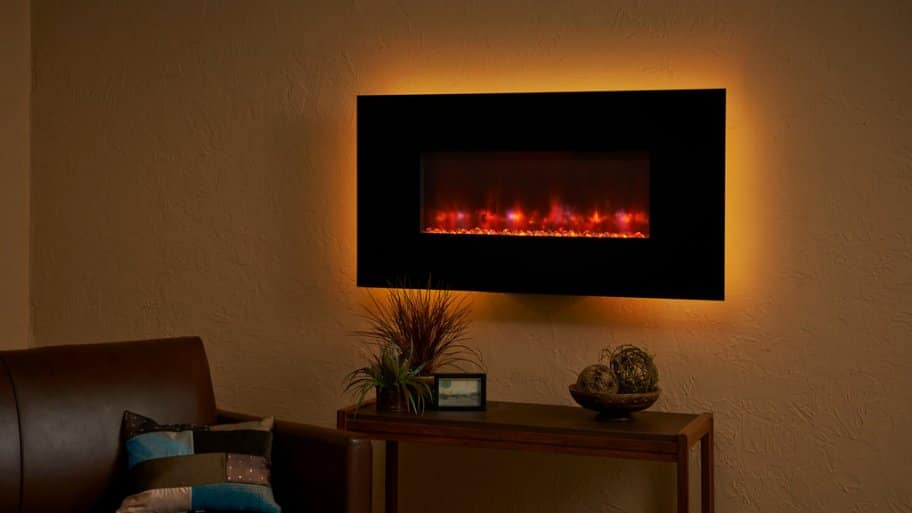 Wall mounted electric fireplace in living room