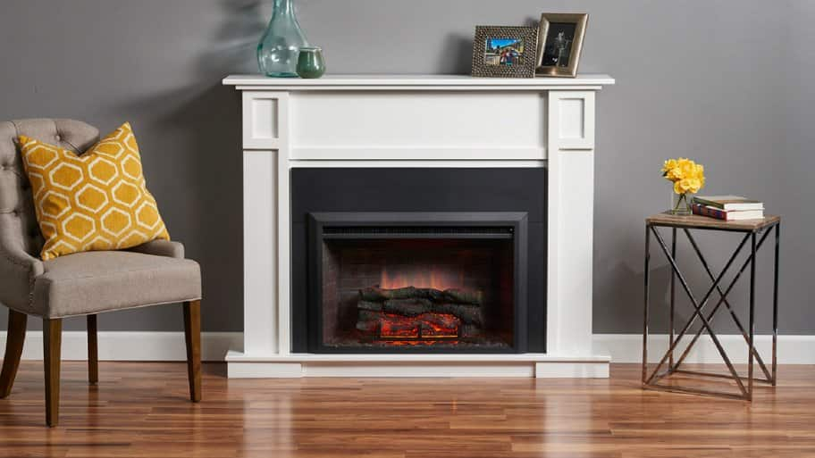 Modern electric fireplace in a traditional setting