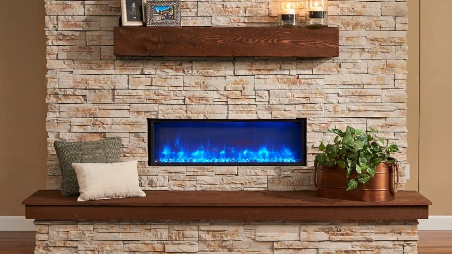Electric fireplace mounted flush against a living room wall
