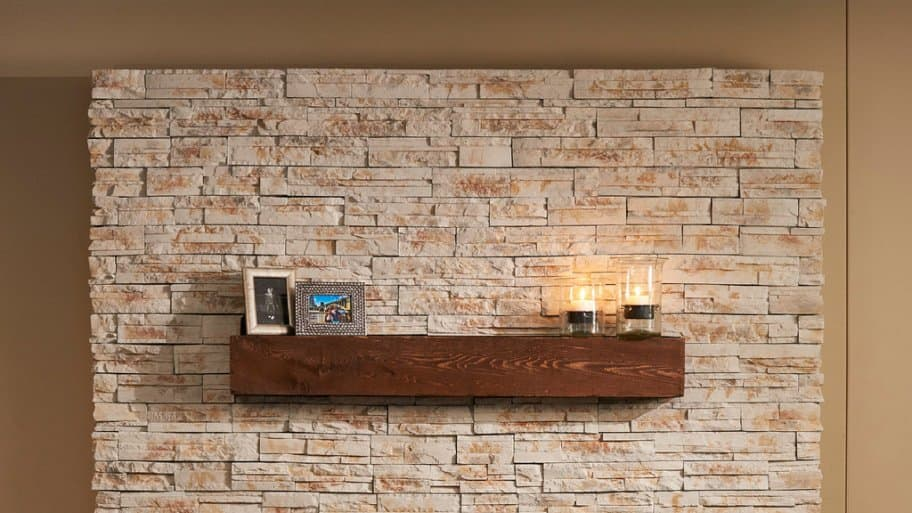 Electric fireplace on a stone hearth