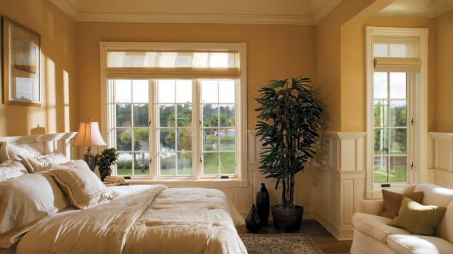 windows, bedroom, bed, fake tree