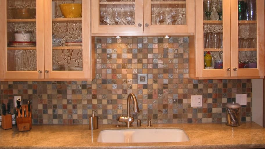 colorful stone tile backsplash
