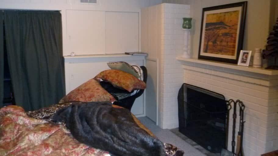 bedroom before basement remodel