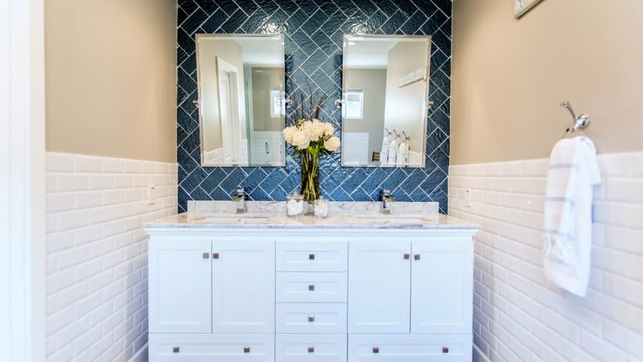 White Shaker Style Bathroom Cabinets In