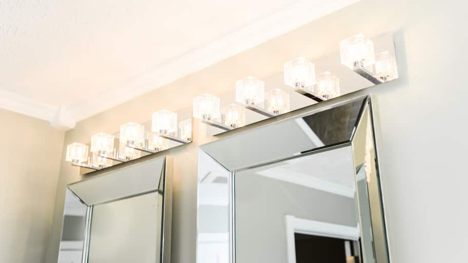 bathroom wall lighting above mirrors and vanity