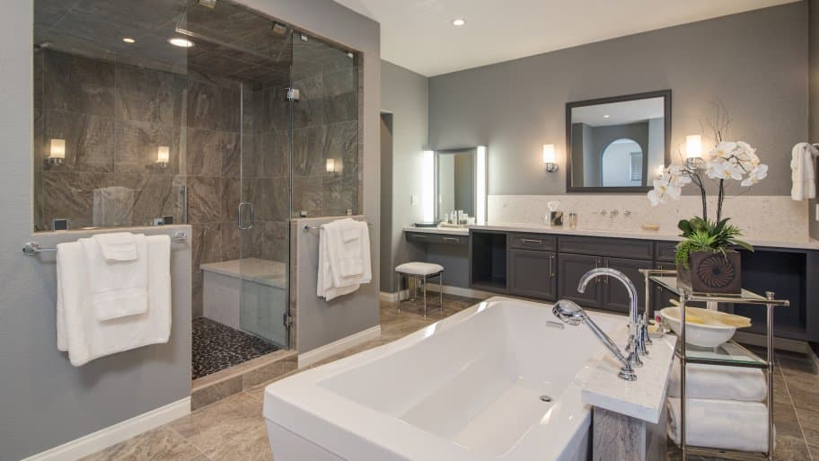 newly remodeled bathroom with tub and walk in shower. How to Survive Your Bathroom Remodel   Angie s List