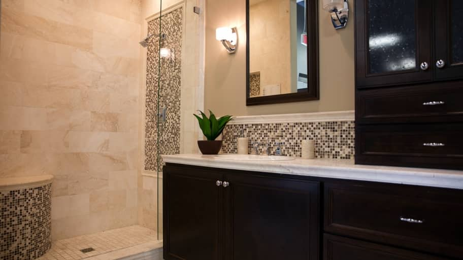 remodeled bathroom with walk in shower high grade cabinets - Steps To Remodeling A Bathroom