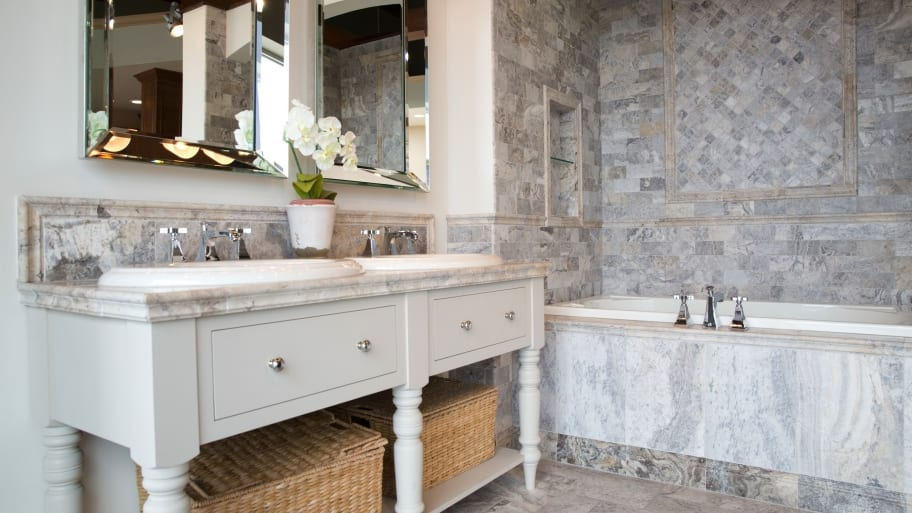 trendy bathroom remodel with stone