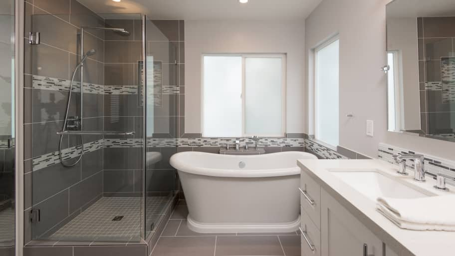 Bathroom Tile Design On Floor And Shower With Glass